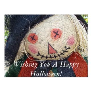 Espantalho feliz do Dia das Bruxas Cartoes Postais