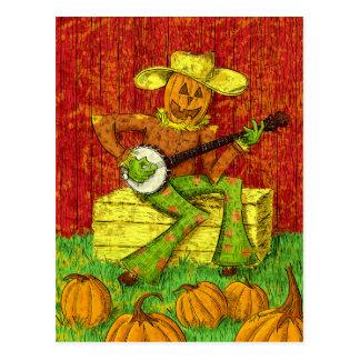 Espantalho que joga a pintura do banjo cartao postal