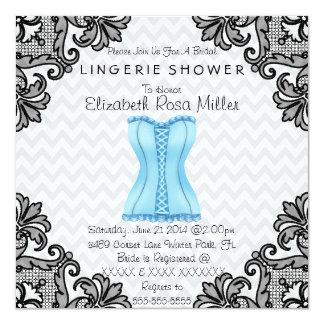 Espartilho azul & chá de panela preto da lingerie convites personalizados