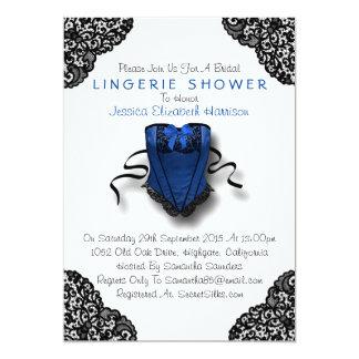 Espartilho azul & chá preto da lingerie do laço