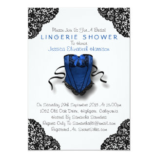 Espartilho azul & chá preto da lingerie do laço convite 12.7 x 17.78cm