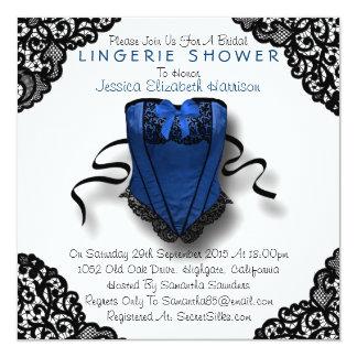 Espartilho azul & chá preto da lingerie do laço convite quadrado 13.35 x 13.35cm