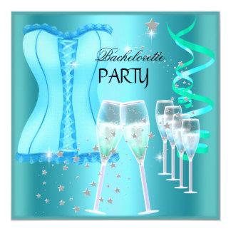 Espartilho azul Champagne da cerceta da festa de Convite Personalizado