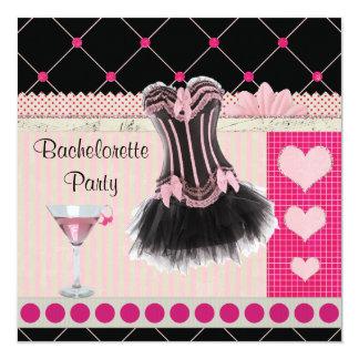 Espartilho chique & festa de solteira cor-de-rosa convites personalizados