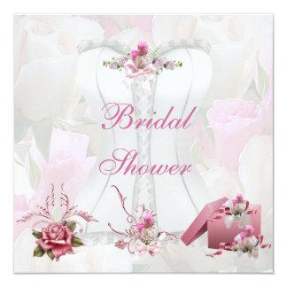 Espartilho cor-de-rosa branco bonito do chá de convite quadrado 13.35 x 13.35cm