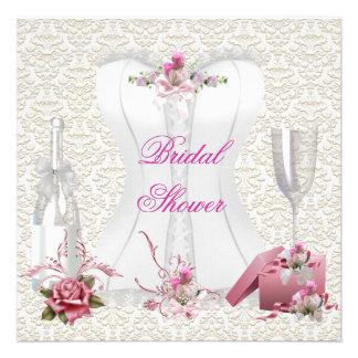 Espartilho cor-de-rosa branco do chá de panela bon convite personalizados