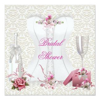Espartilho cor-de-rosa branco do chá de panela convite personalizados