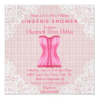 Espartilho cor-de-rosa & chá de panela branco da convite personalizados