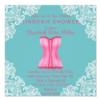 Espartilho cor-de-rosa & chá de panela branco da convites