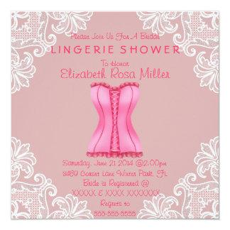 Espartilho cor-de-rosa & chá de panela branco da convites personalizado