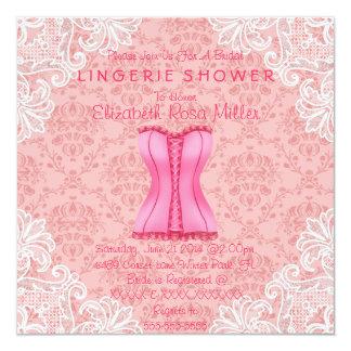 Espartilho cor-de-rosa & chá de panela branco da convite personalizado