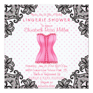 Espartilho cor-de-rosa & chá de panela preto da convite