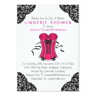 Espartilho cor-de-rosa & chá preto da lingerie do convite 12.7 x 17.78cm