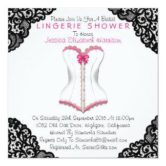 Espartilho cor-de-rosa & chá preto da lingerie do convite quadrado 13.35 x 13.35cm
