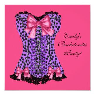 Espartilho cor-de-rosa & roxo Bachelorette roxo P Convites Personalizado