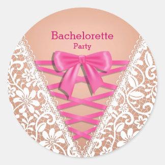 Espartilho da lingerie do laço da festa de adesivo em formato redondo
