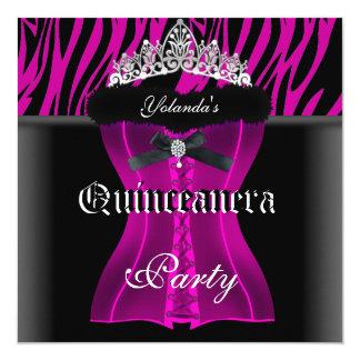 Espartilho da tiara do preto da zebra do rosa do convite quadrado 13.35 x 13.35cm
