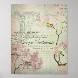 Espartilho gasto das flores do roteiro francês poster