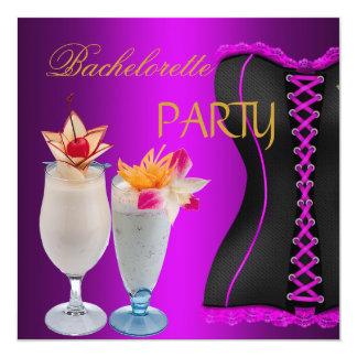 Espartilho preto magenta dos cocktail da festa de convite quadrado 13.35 x 13.35cm