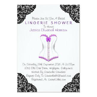 Espartilho roxo & chá preto da lingerie do laço convite 12.7 x 17.78cm