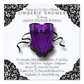 Espartilho roxo & chá preto da lingerie do laço convite quadrado 13.35 x 13.35cm