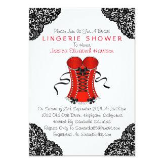 Espartilho vermelho & chá preto da lingerie do convite 12.7 x 17.78cm