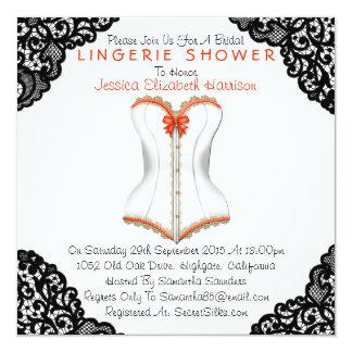 Espartilho vermelho & chá preto da lingerie do convite quadrado 13.35 x 13.35cm