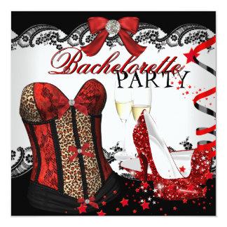 Espartilho vermelho Champagne do laço da festa de Convite Quadrado 13.35 X 13.35cm