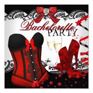 Espartilho vermelho Champagne do laço de Convite Quadrado 13.35 X 13.35cm