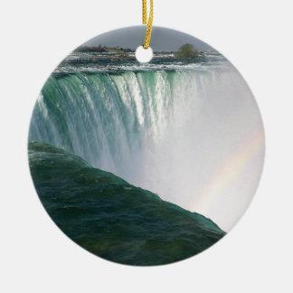 Espectro Niagara Falls da natureza da cachoeira Ornamento De Cerâmica Redondo