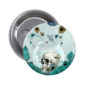 Espelho, crânio na bacia dos peixes bóton redondo 5.08cm