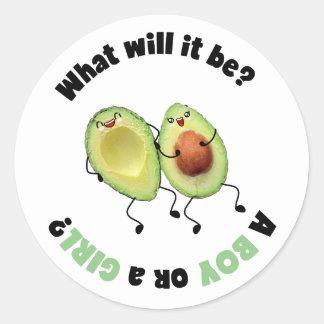 Esperando o género do abacate revele etiquetas do