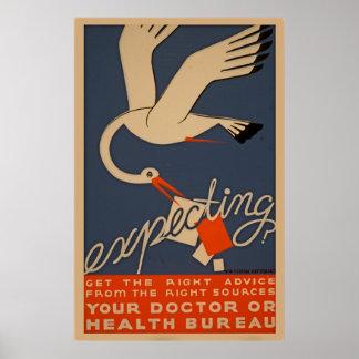 Esperando o poster da saúde do vintage de WPA