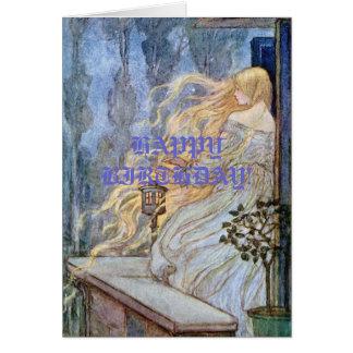 Esperas louras de Rapunzel Cartão Comemorativo