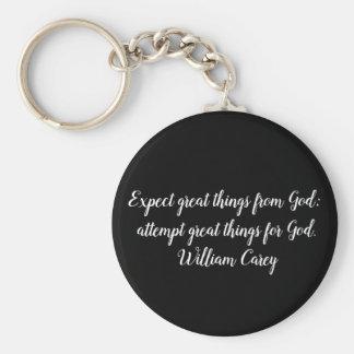 Espere grandes coisas do chaveiro do deus