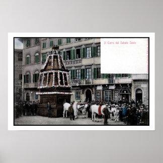 espetáculo de Florença Italia Scoppio del Carro do Posteres