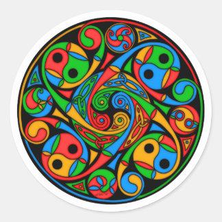 Espiral celta do vitral adesivos redondos