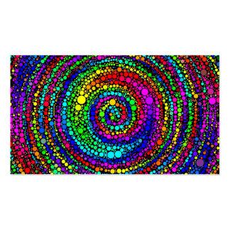 Espiral com pontos do arco-íris cartão de visita