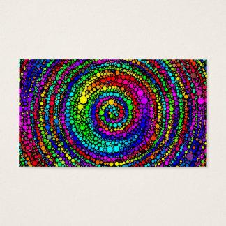 Espiral com pontos do arco-íris cartão de visitas
