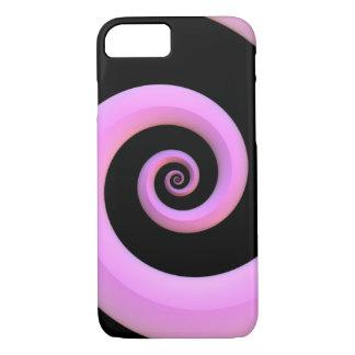 Espiral cor-de-rosa/preta capa iPhone 7