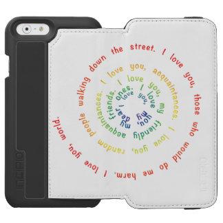 Espiral da capa de telefone da carteira do amor capa carteira incipio watson™ para iPhone 6