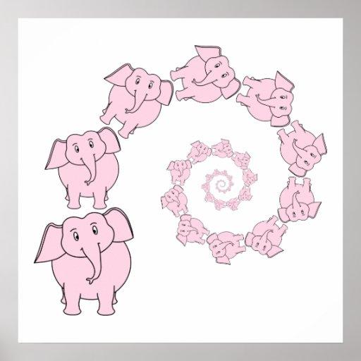 Espiral de elefantes cor-de-rosa. Desenhos animado Poster