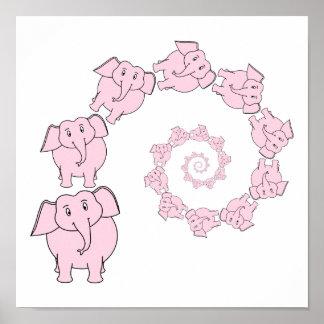 Espiral de elefantes cor-de-rosa Desenhos animado Posteres