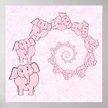 Espiral de elefantes cor-de-rosa. Fundo cor-de-ros Posteres