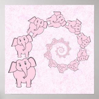 Espiral de elefantes cor-de-rosa. Fundo cor-de-ros Poster