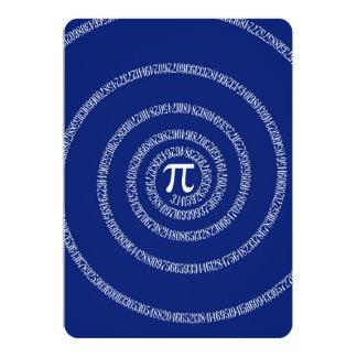 Espiral do design para o Pi em azuis marinhos Convite 12.7 X 17.78cm