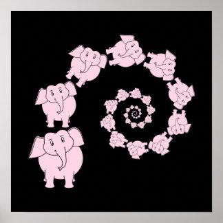 Espiral do elefante cor-de-rosa impressão