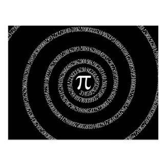 Espiral para a tipografia do Pi no preto Cartão Postal
