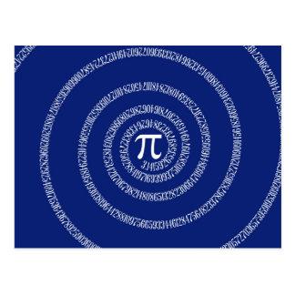Espiral para o Pi em azuis marinhos Cartão Postal