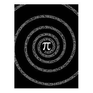 Espiral para o Pi no preto Cartão Postal